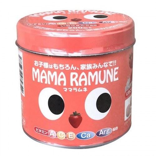 Kẹo cho trẻ biếng ăn Mama Ramune của Nhật 200 viên Vị Dâu