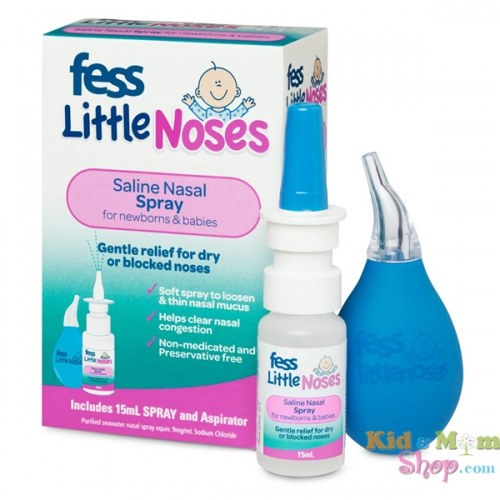 Xịt Nghẹt Mũi, Sổ Mũi Kèm Bóng Hút Fess Little Noses Spray 15Ml (Kèm Bóng Hút)